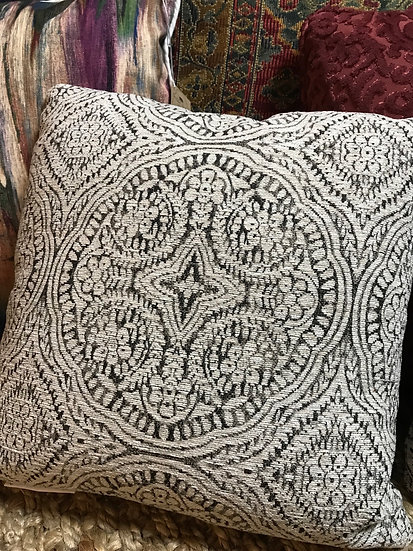 Grey & Off White Medallion Chenille, down pillow, small