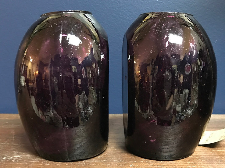 """Amethyst glass bookend vases, 5 1/2"""" tall"""
