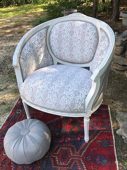 Bergere Style Chair in Eggshell & Griege Ikat