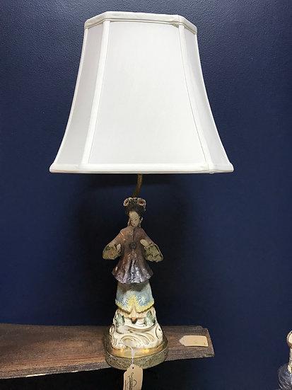 "Oriental lady lamp, 25"" tall"
