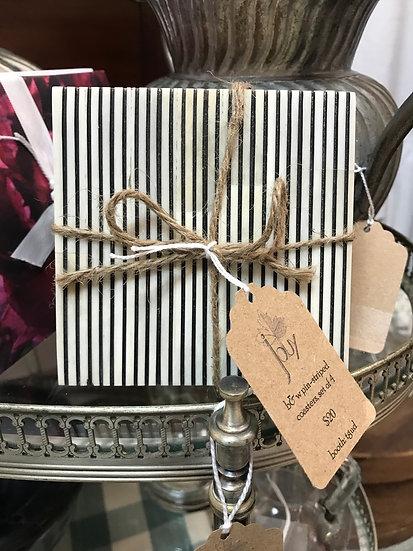 Black & White Pinstripe Coasters, Set of 4