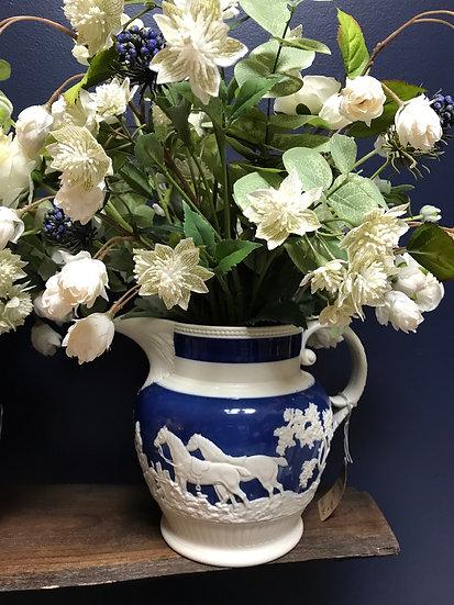 Blue & white Jasperware floral arrangement