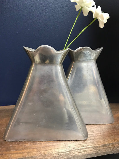 "Pewter bud vases, pair, 6 1/2"" tall"