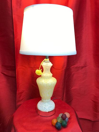 Yellow & White Murano Glass Lamp w/ Linen Shade