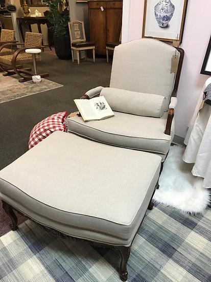 Tan Bergere-Style Armchair w/ Matching Ottoman & Bolster