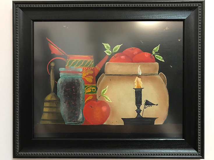 Still Life of Apples in Jar, in Folk Art Style, approx 19 x 14