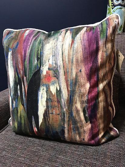 "Abstract print pillow, 18"""