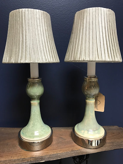 """Glazed Candlestick Lamps, 14"""" tall"""