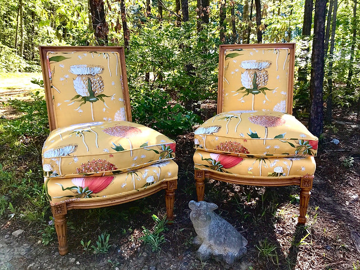 Louis XVI Style Chairs in Linen, pair