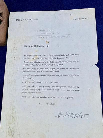Julleuchter Award Document von Himmler (1937)