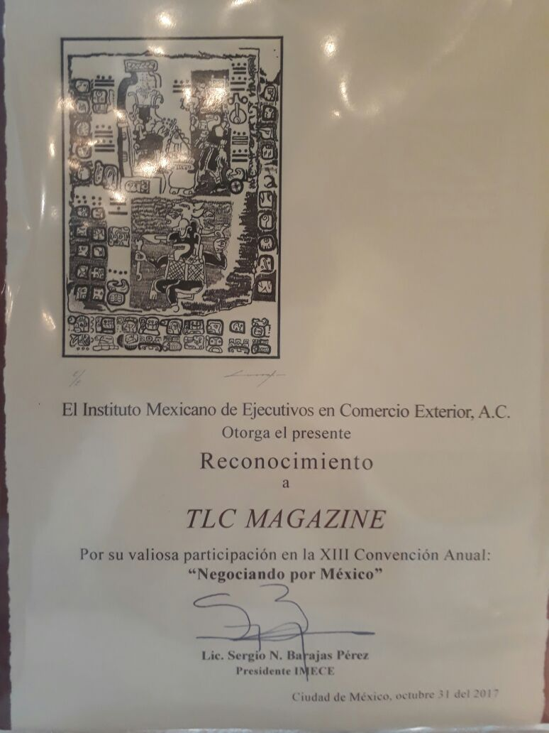 RECONOCIMIENTO A TLC MAGAZINE MÉXICO