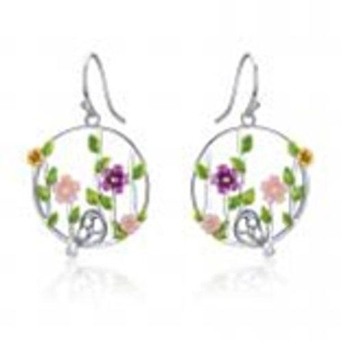 Flower Bird Leaf Dangling Earrings in Sterling Silver