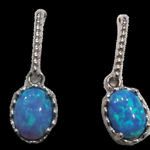 925 Sterling Silver Blue Opal Danglers