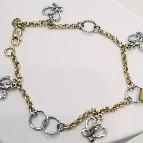 14k yellow yellow bracelet with white gold charms