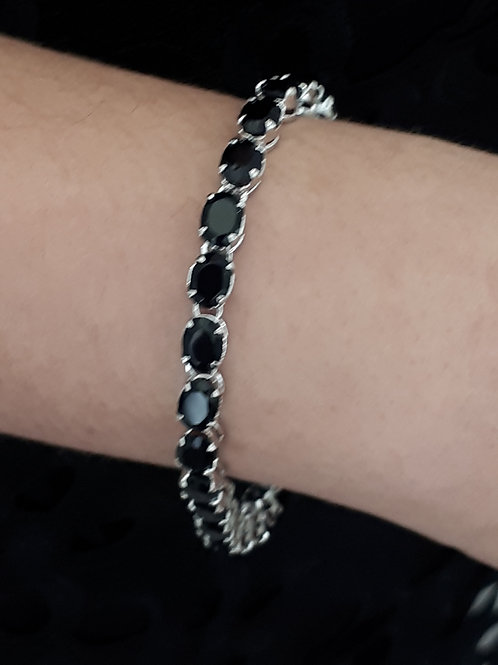 Black Onyx in sterling silver bracelet