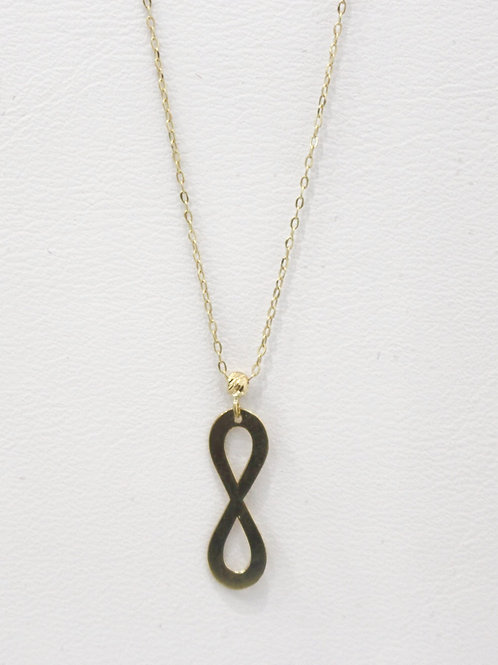 Stylish yellow gold infinity necklace