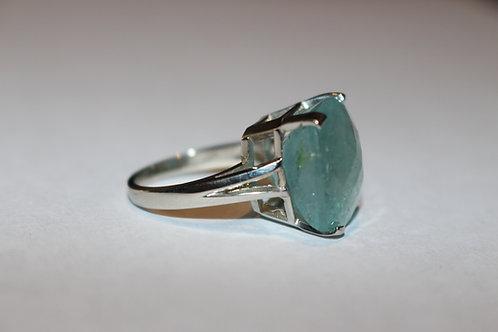 10 KT white gold ring set with rare greennish blue Grandidierite