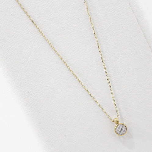 Crystal pendent yellow gold necklace