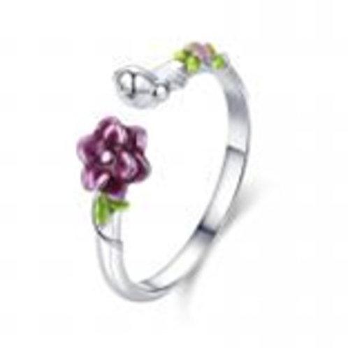 Charming Flower Leaf Adjustable Silver Ring