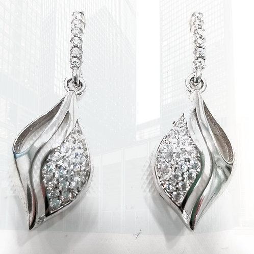 925 Sterling Silver white Zirconia Danglers