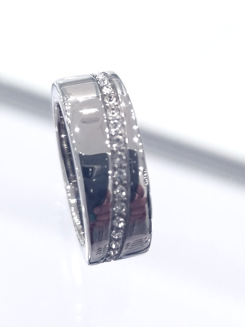Stainless Steel  Ring with white Zirconia