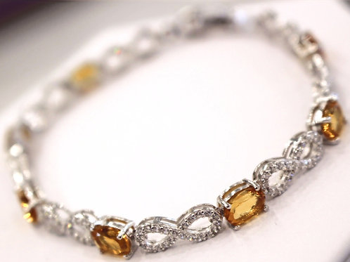 925 Sterling Silver Infinity Zirconia and Citrine Gemstone Bracelet