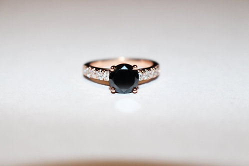 Gorgeous Black Diamond Engagement Ring14 KT Rose Gold