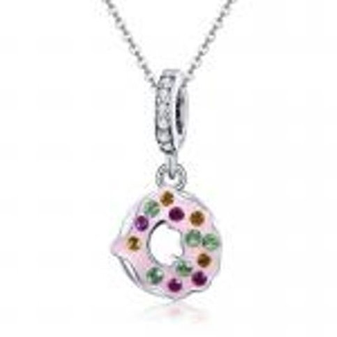 Adorable Pink Doughnut Pendant CZ Sterling Silver