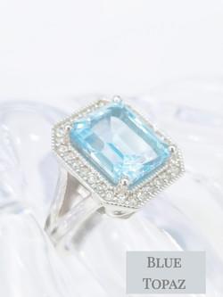 Blue Topaz diamonds ring