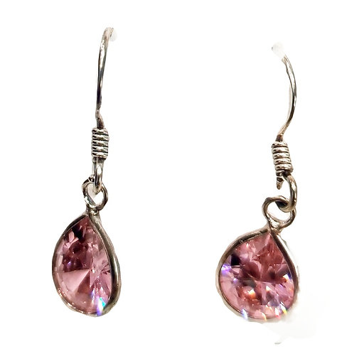 925 Sterling Silver with Teardrop Pink Zircon