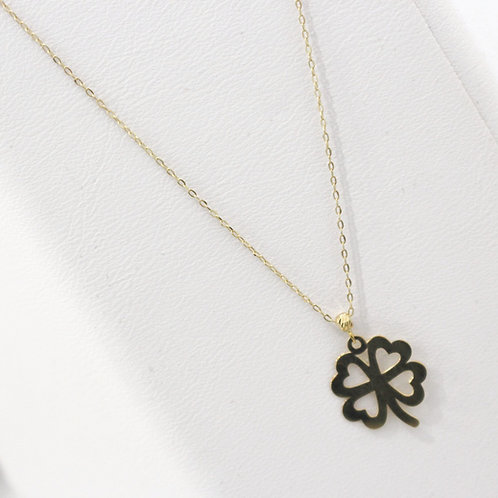 10K Yellow Gold Four Leaf clover Pendent Necklace