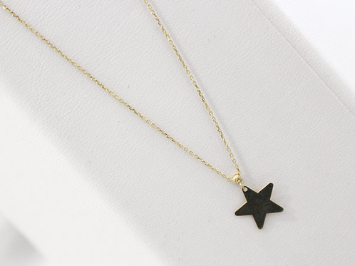 Star pendent yellow gold necklace front view