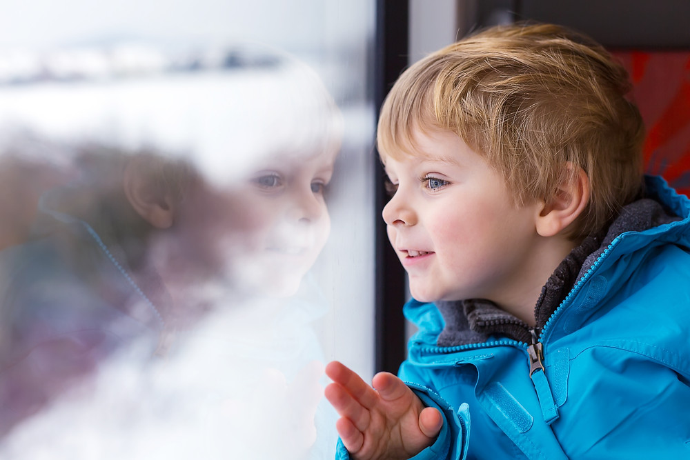 Beautiful Toddler Boy Looking Out Train Window Outside And Traveling.jpg