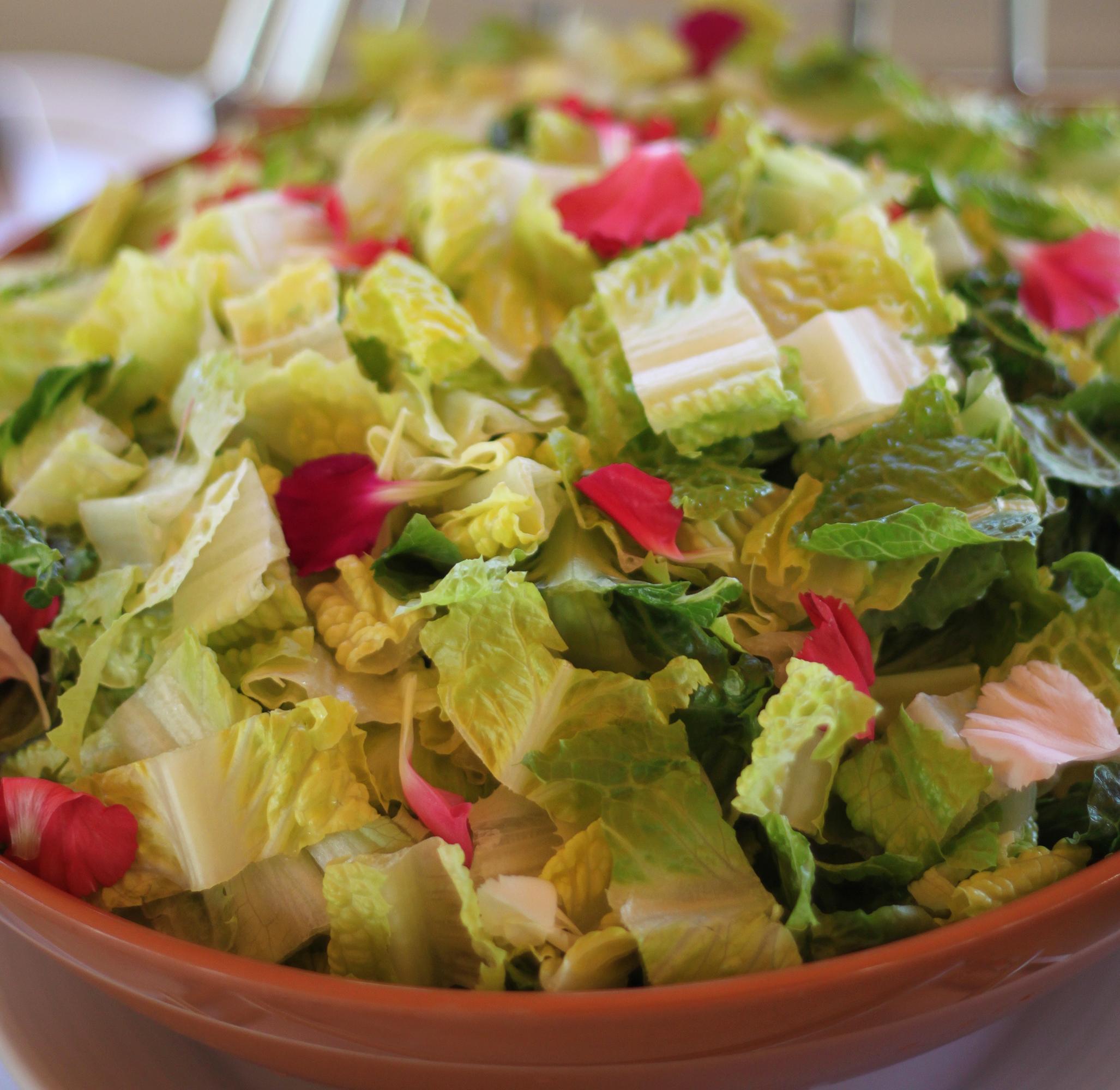 Salad with flower petals