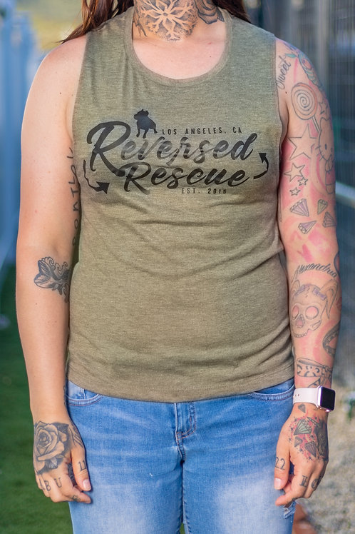 Women's Recycle Muscle Tank - Olive
