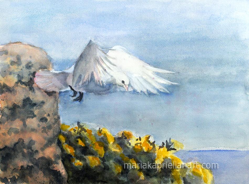 Greek Dove in Flight