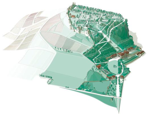 Plan cavalier de la colline du Château d'Arlay