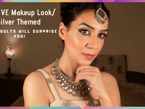 Makeup Tutorial for Dewy Festive Look with Silver and Black Eyeshadow