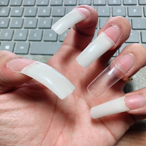 500pcs/bag high quality ABS false acrylic nails tips natural white clear french