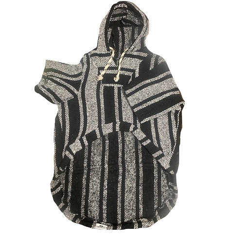 *BIG DOG* Black White Hoodie Poncho