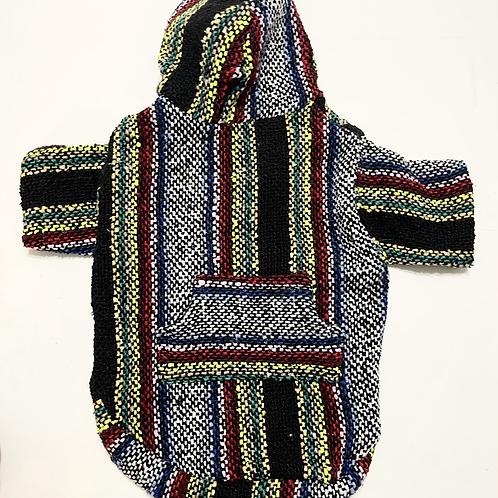 Black/Multi Baja Poncho Hoodie