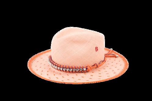 JUNGLA Dots Panama Straw Hat w/Handmade Embellishement