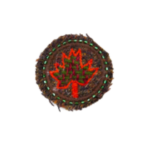 CANADA LEAF Brooch - Embroidery Volcano Red