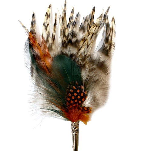LOOSE Brooch Feathers Green & Orange on Natural