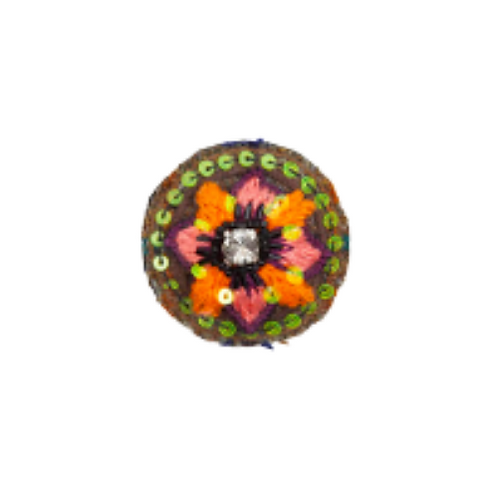 FLOWER Brooch - Embroidery Volcano Red