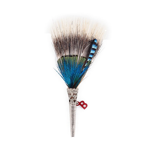 BRUSH Brooch Feathers Royal Blues