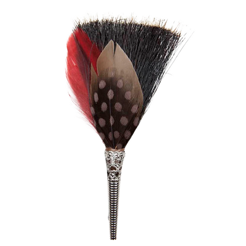 BRUSH Brooch Feathers Red & Taupe