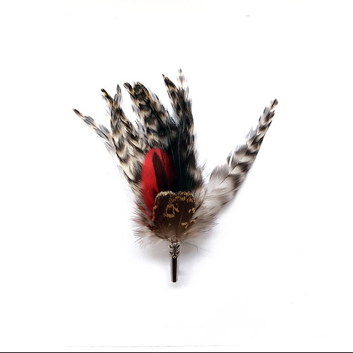 LOOSE Brooch Feathers Red & Green