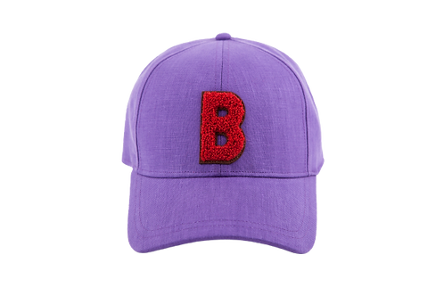 BASEBALL CAP Linen Purple With B red