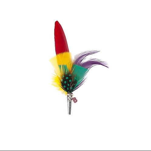 PENCIL Brooch Feathers Red & Green